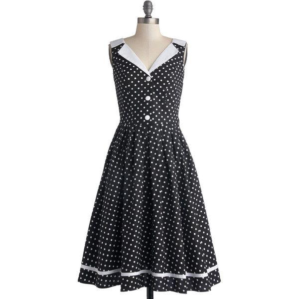 ModCloth Vintage Inspired Long Sleeveless A-line Love You Brunches Dress featuring polyvore fashion clothing dresses modcloth retro apparel black classic dress fit and flare dress black pleated dress retro polka dot dress black dress long dresses