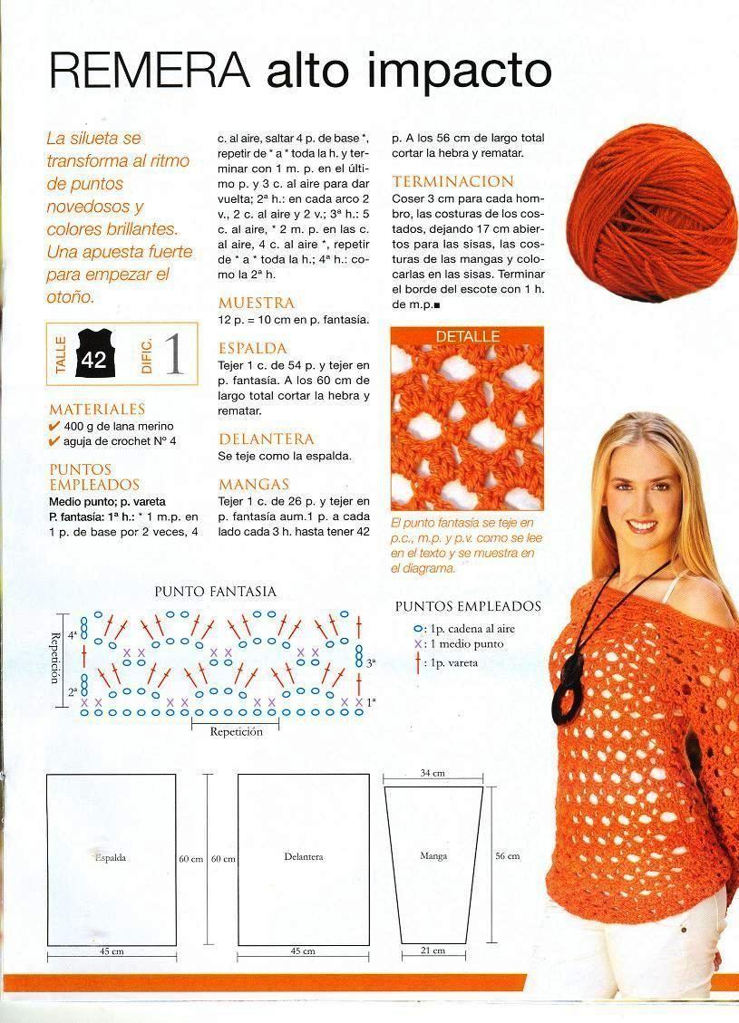 Jersey de Crochet Naranja Manga Larga - Patrones Crochet | Crochet ...