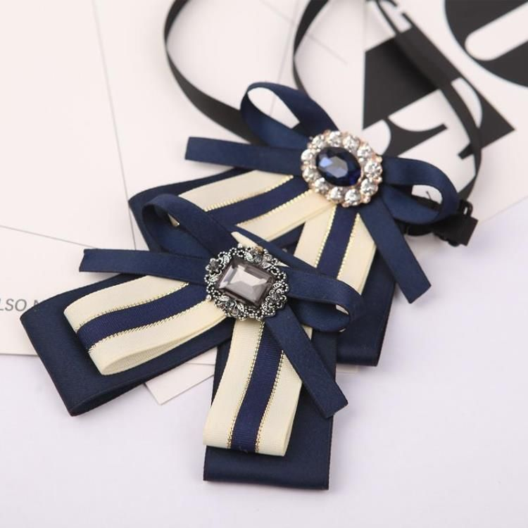 New Classic Cloth Clip Tie Hot Fashion Lovely Bowknot Stripe Fabric Statement Crystal Bow Brooches Pins