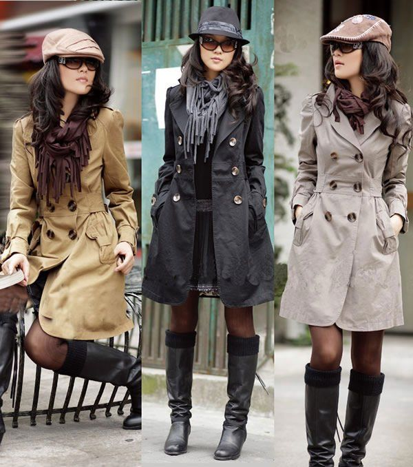 New fashion women classic double breasted slim fit coat ladies