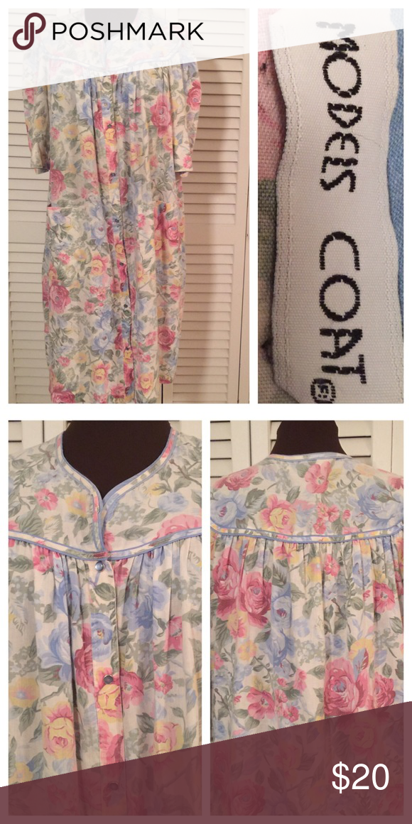 Simple Floral House Coat 👼 Blue and pink floral House Coat.  Pockets and snaps,  no buttons.  Great for wearing over your clothes to keep them clean or over a night gown.  I'm showing my age now.  Great condition.  100% cotton Models Coat Jackets & Coats