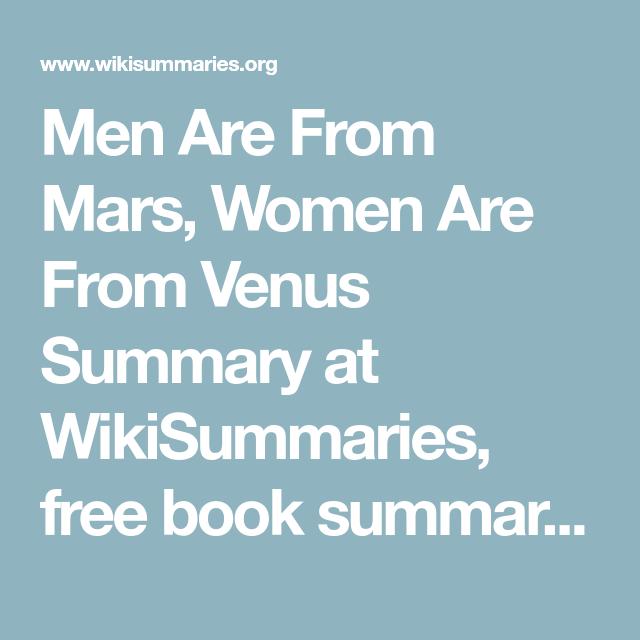 Men from mars women from venus summary