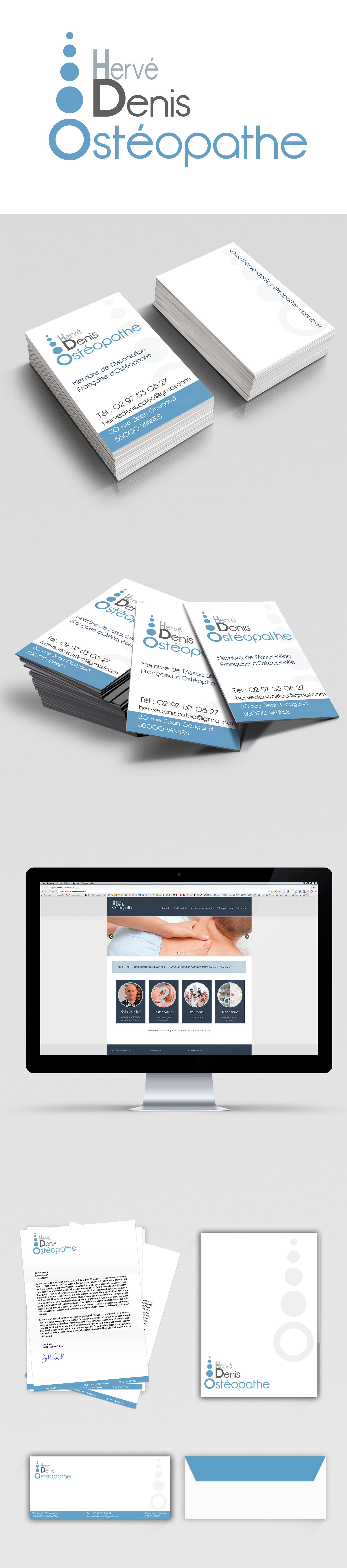 Logo Identitaire Carte De Visite Et Site Web Pour Herve Denis Osteopathe A Vannes