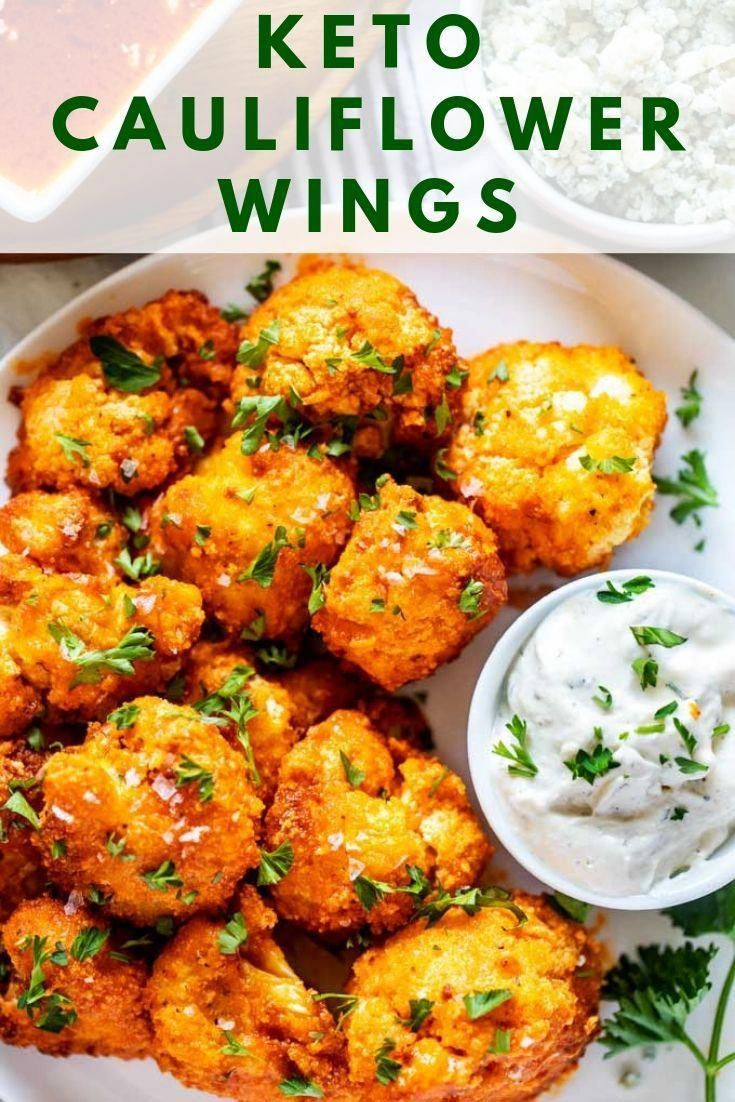 Keto Cauliflower Wings Air Fryer or Oven Gluten Free