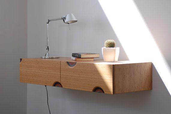Console Sospesa Con 2 Cassetti Scrivania Sospesa In Bamboo Wall Mounted Desk Floating Desk Floating Drawer