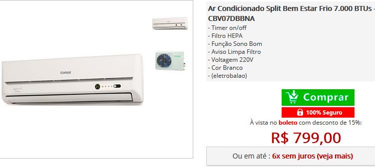Ar Condicionado Split Bem Estar Frio 7.000 BTUs - Consul >