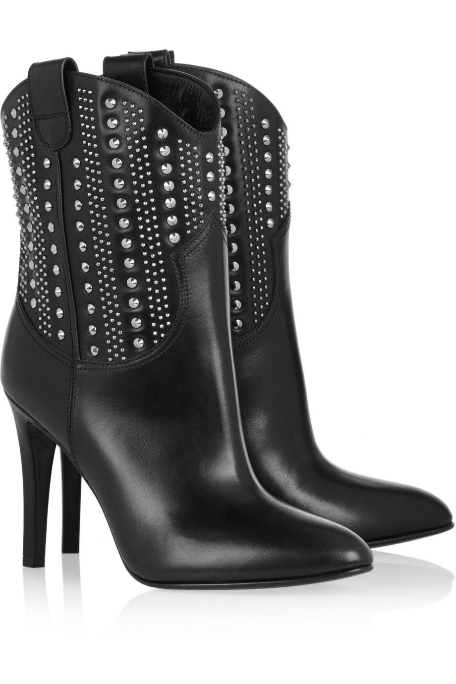 Classic Fashion Saint Laurent Ankle Boots Leather Black Debbie Studded