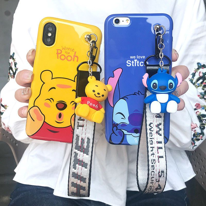 For Iphone 12 11 Pro Xs Max 6 7 8 Cute Stitch Winnie Case With Stand Doll Strap Disney Phone Cases Bff Phone Cases Cute Stitch