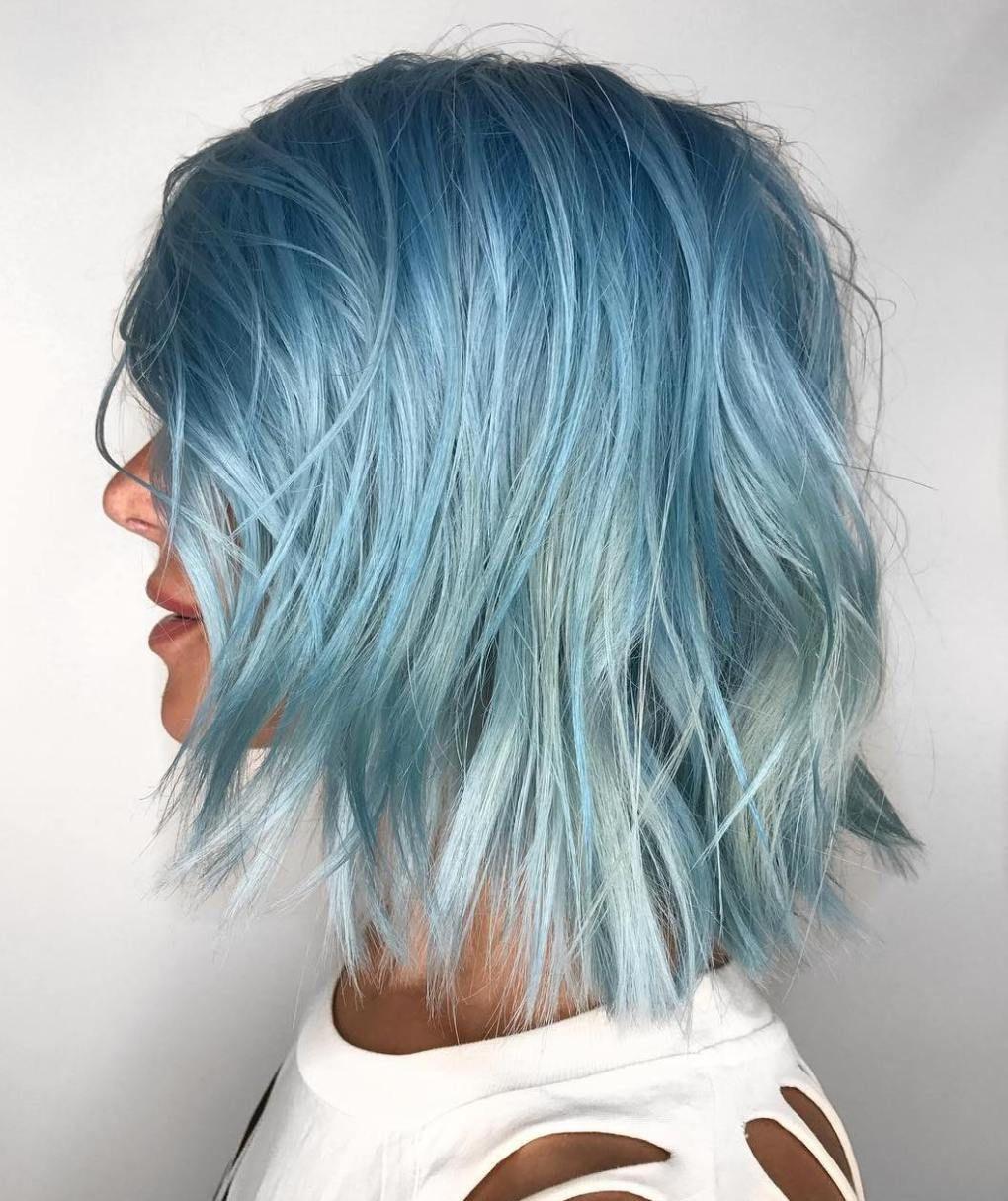 Pastell Blaue Harre Im Long Bob Hair Frisur Longbob Blau Haarfarben Haare Farben Ideen Haarfarbe Ideen