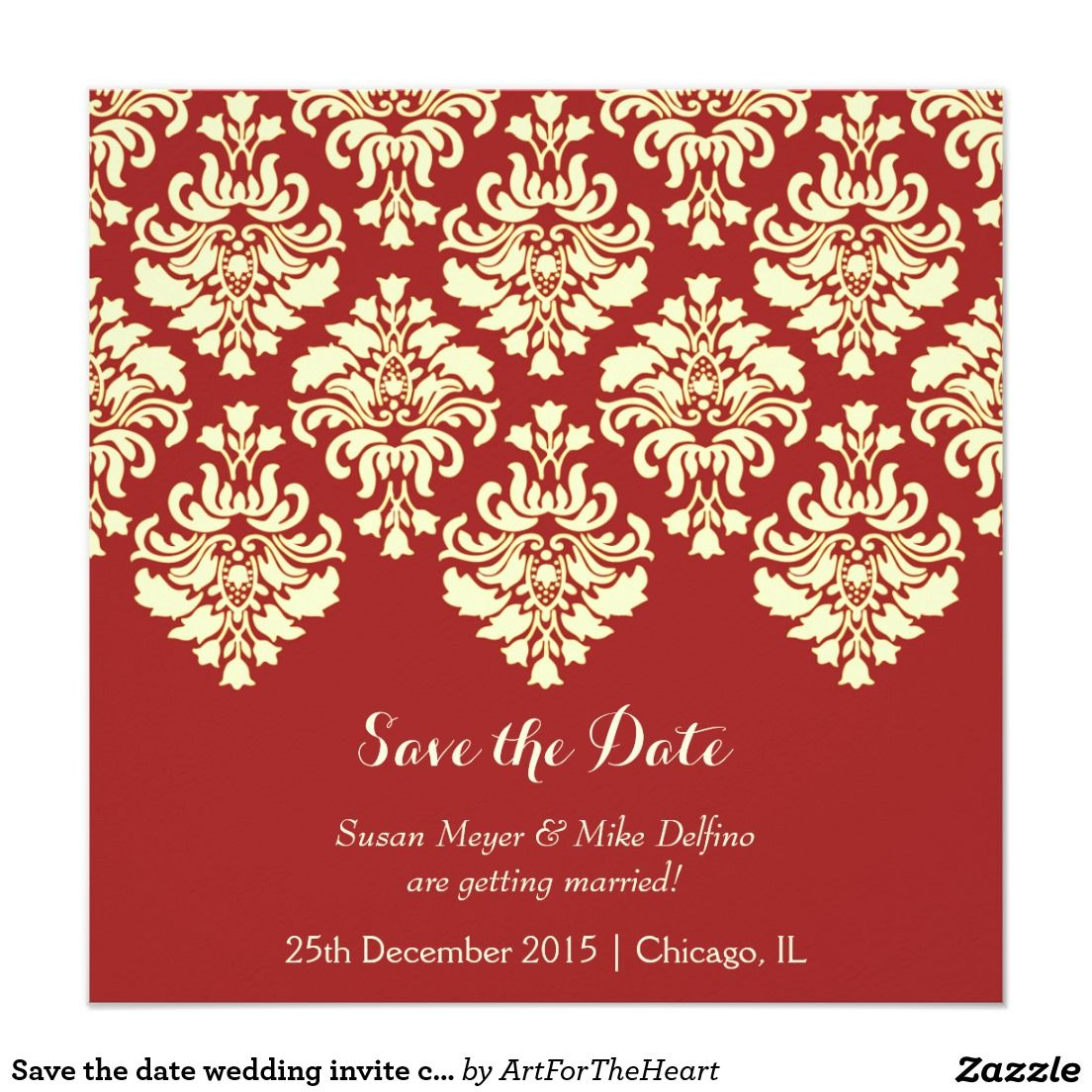 Save the date wedding invite card red damask | Damasks, Wedding and ...