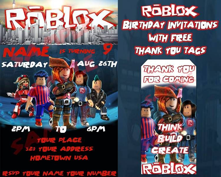 Roblox Birthday Invitation with FREE Thank You Tags by ...