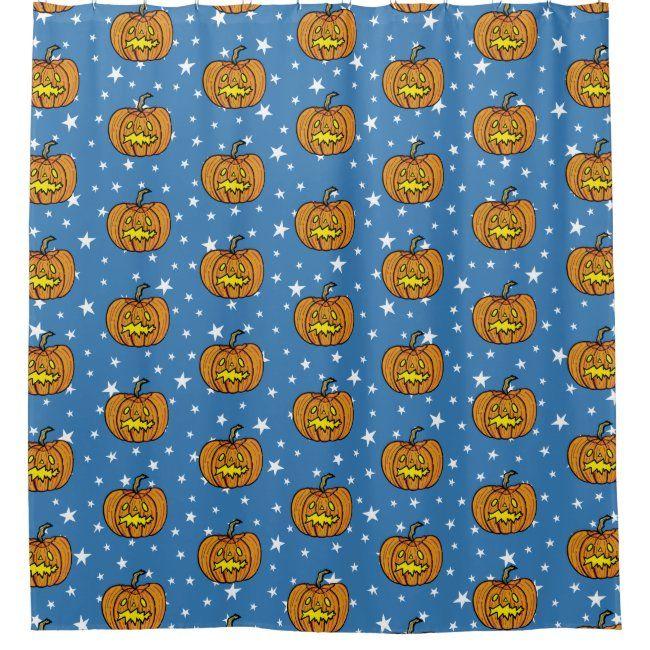 Yellow Bathroomideas: Halloween Pumpkin Shower Curtain