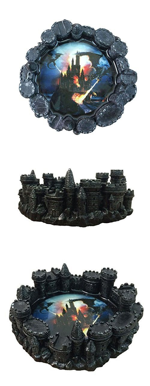 Fire-breathing Dragon Burning Medieval Castle Ashtray By DWK ...