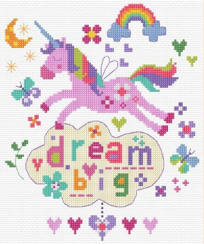 Dream Big - Unicorn Cross Stitch | Punto de cruz, Puntos y Unicornios