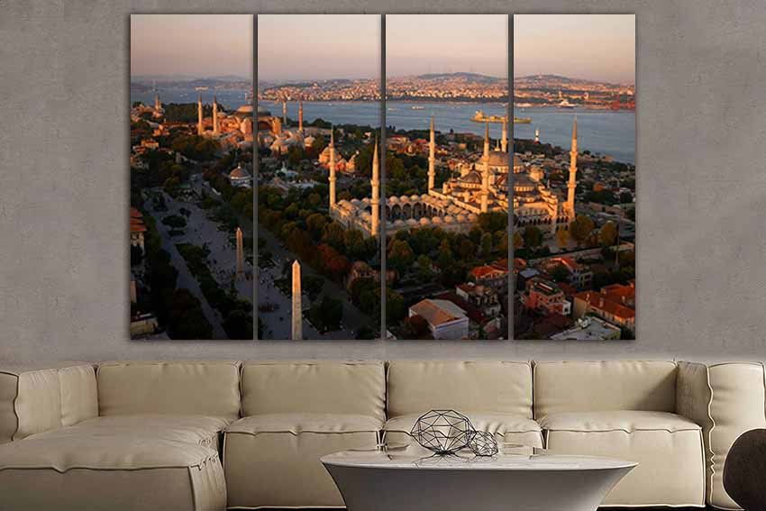 Wall Art Canvas Blue Mosque Istanbul Canvas City Wall Art Turkish Home Decor Istanbul Print Turkish Print City Wall Art Airplane Wall Art Blue Mosque Istanbul