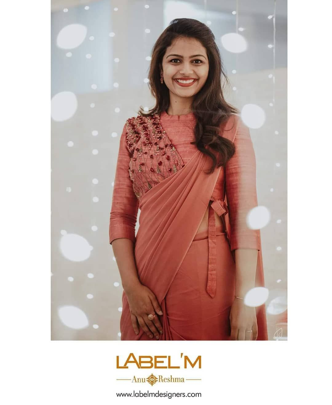 """Label'M on Instagram: """"Bride Roopa Ann Mathew in a peach saree with handworked blouse for her prewedding eve. This blouse is intricately hand worked with 3D…"""""""