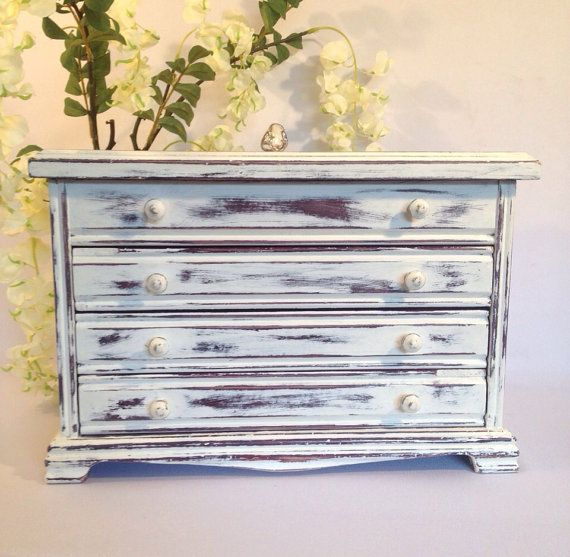 Large White jewelry chest distressed jewelry box jewelry armoire