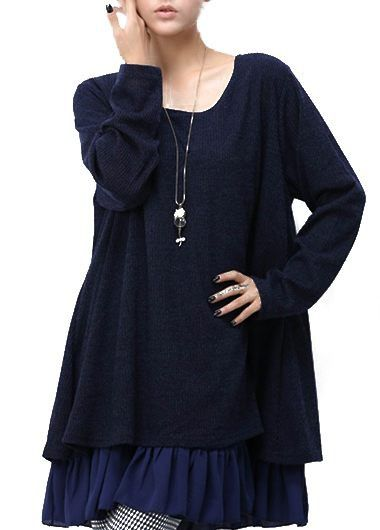 Round Neck Bowknot Decorated Navy Blue Dress