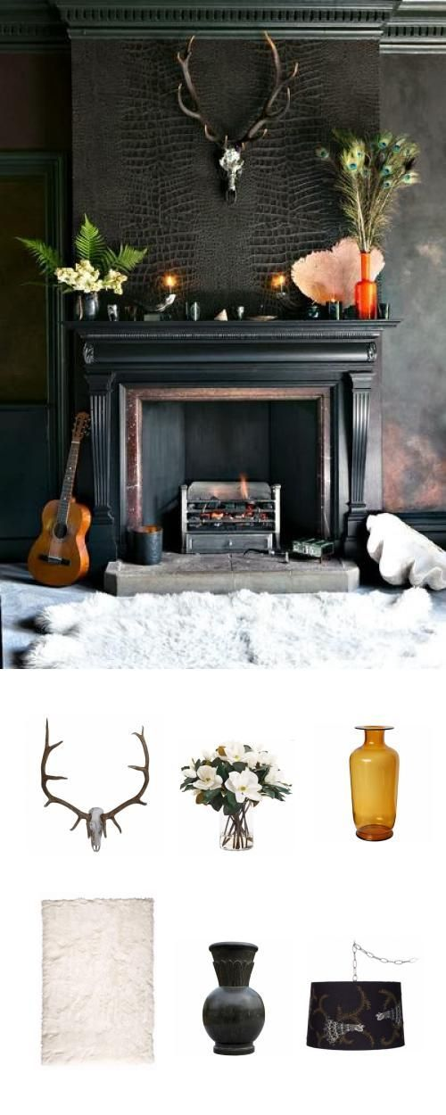 We Ll Follow This Trend Into The Dark Wallpaper Fireplace Fireplace Dark Interiors