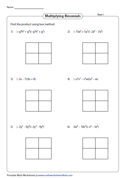Multiply Binomials Using Box Method Box Method Multiplication Polynomials Printable Math Worksheets