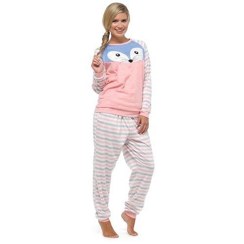 46b79c2bce11 Ladies Supersoft Velour Fleece Cosy Animal Twosie  Pink Raccoon ...