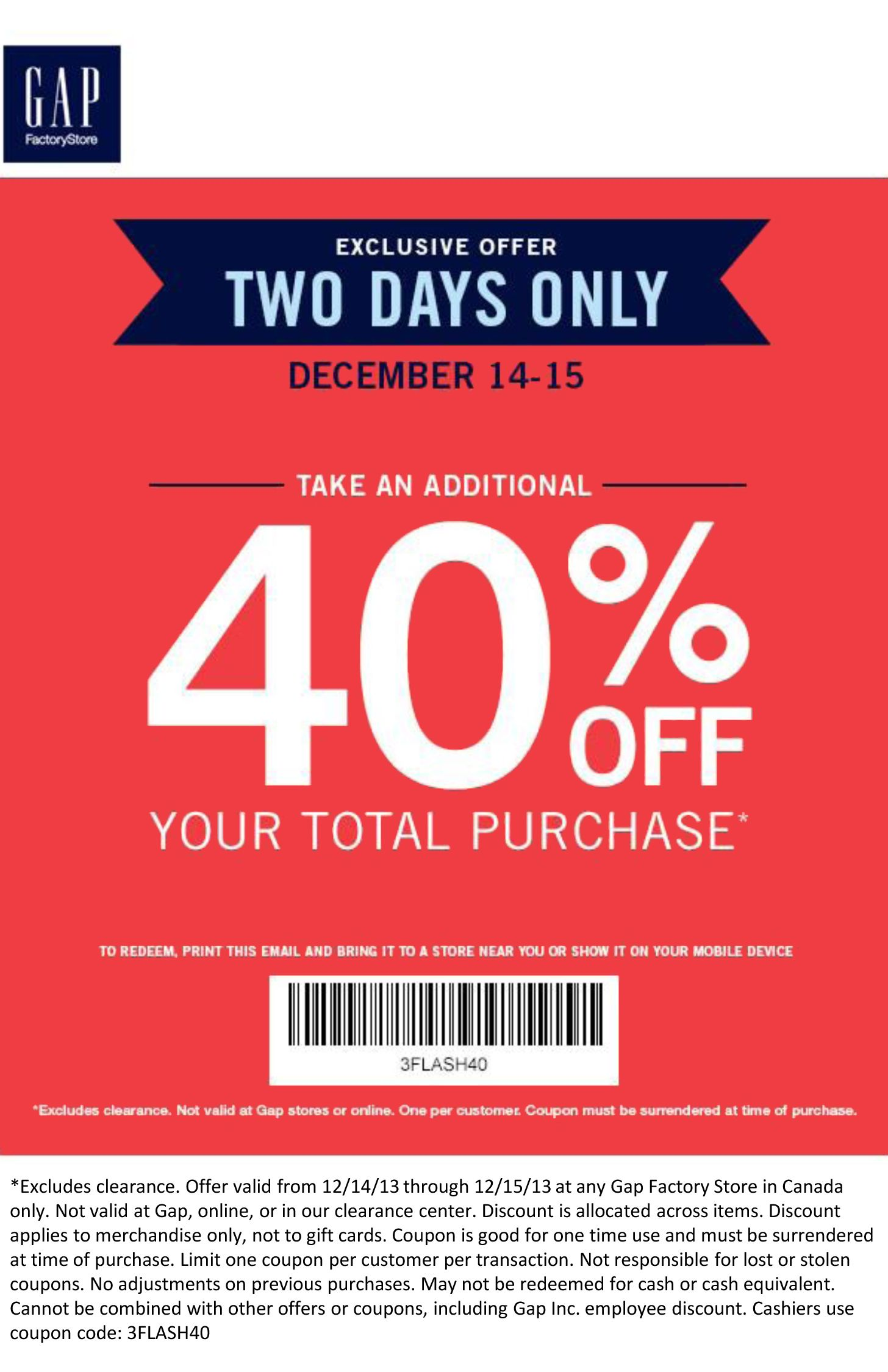 picture about Gap Factory Printable Coupon known as Flash Sale at Hole Manufacturing facility Keep December 14 15th Simply just