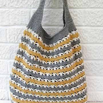 Stripy market bag crochet pattern