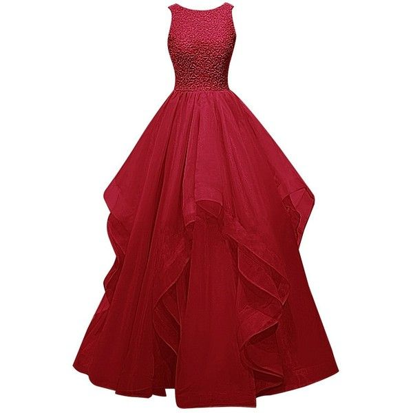 Dresstells Long Prom Dress Asymmetric Bridesmaid Dress Beaded Organza... (€110) ❤ liked on Polyvore featuring dresses, gowns, long red dress, red gown, long prom gowns, red ball gown and long evening gowns