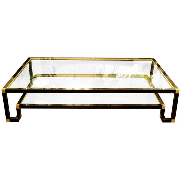 Rectangular Two Tier Black Enamel Brass And Glass Coffee Table - Two tier glass side table