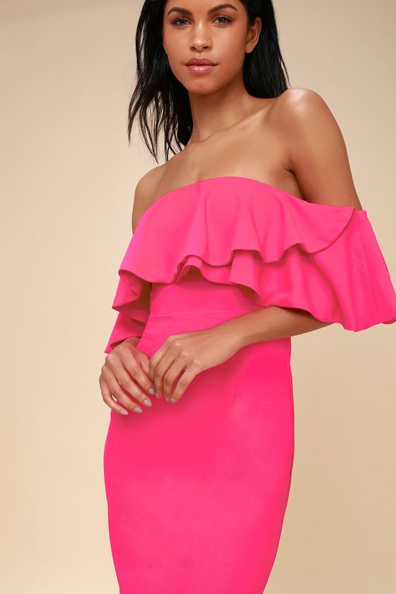 Aurelia Hot Pink Off The Shoulder Bodycon Midi Dress Hot Pink Bodycon Dress Girls Night Out Dresses Midi Dress Bodycon