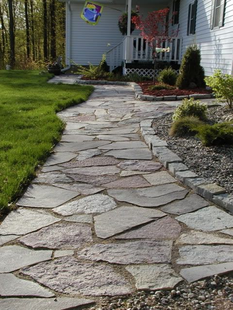 Flagstone pathdo this over the rock concrete sidewalk that s there now this  . Flagstone Sidewalk Pictures. Home Design Ideas