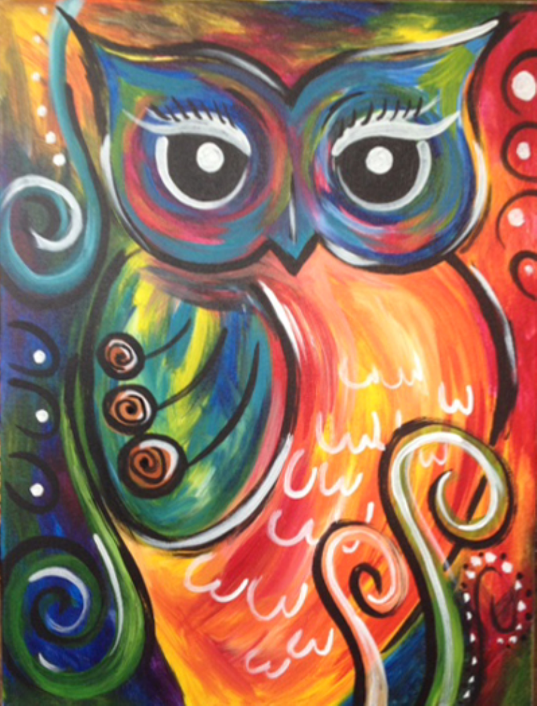 i am going to paint festive owl at pinot s palette south lamar to