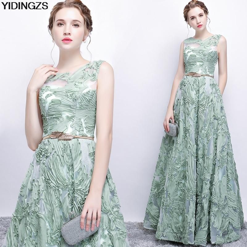 90f3ce84e6 Elegant Evening Dress New Fresh Green Lace Sleeveless Floor-length Pro – 49  Dresses