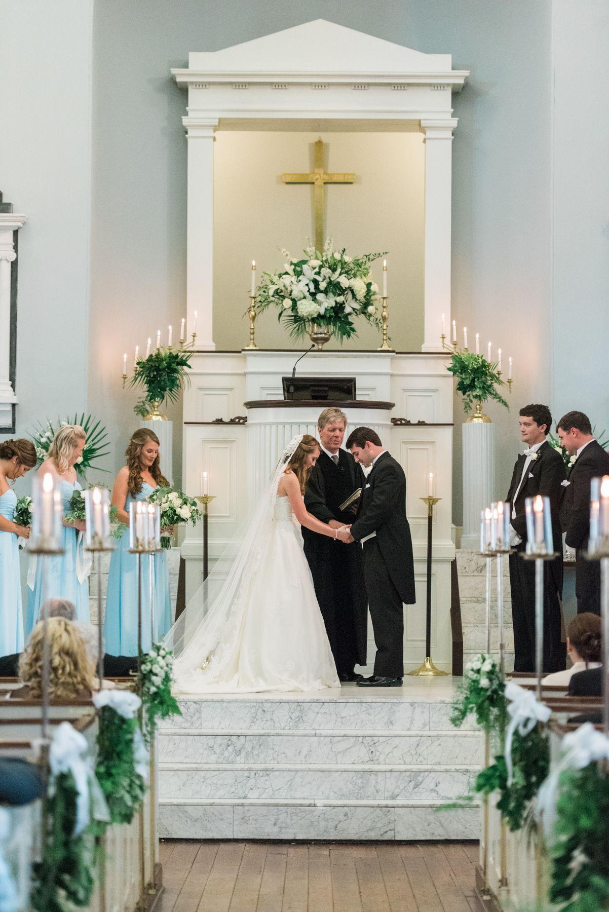 Southern Wedding Ceremony First Baptist Church Charleston Sc Wedding Church Decor Wedding Church Aisle Church Wedding Decorations