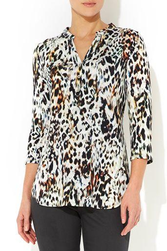 Blurred Leopard Print Petite Shirt. Wallis US  b8d069e0f