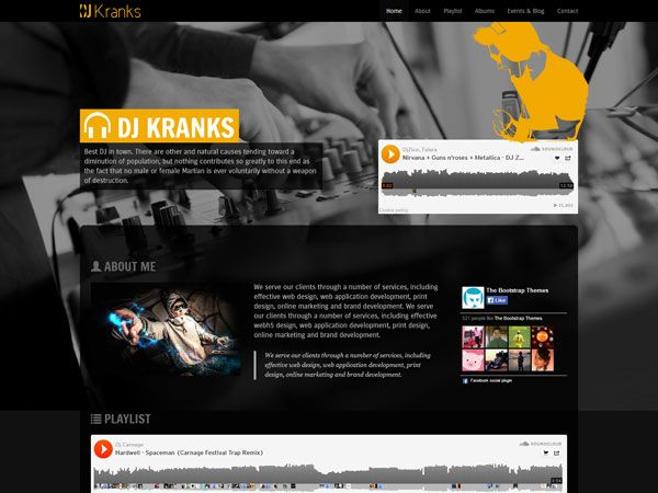 Website Templates Dj Kranks Template  Free Music Website Templates  Pinterest
