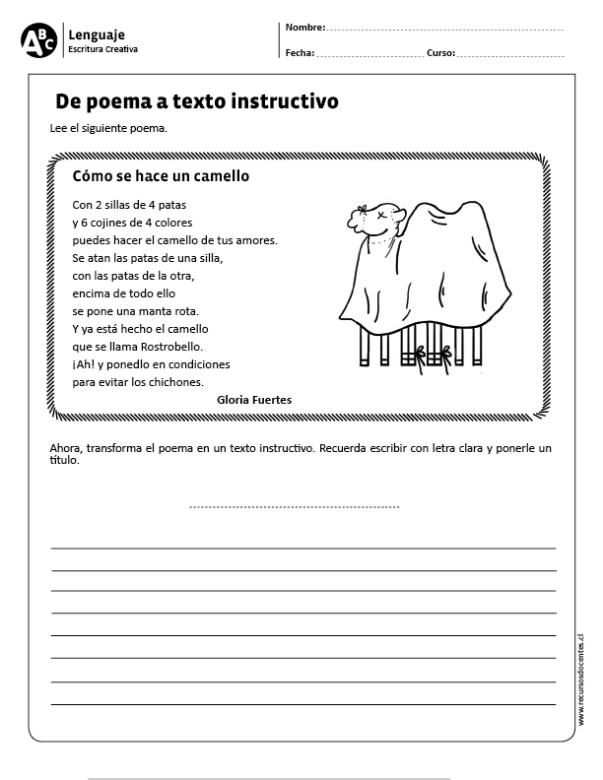 De Poema A Texto Instructivo Texto Instructivo Para Niños