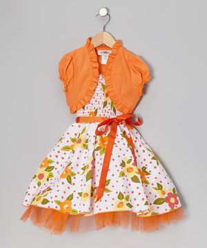 Look at this #zulilyfind! Citlali's Choice Orange Floral Sash-Tie Dress & Shrug - Toddler & Girls by Citlali's Choice #zulilyfinds
