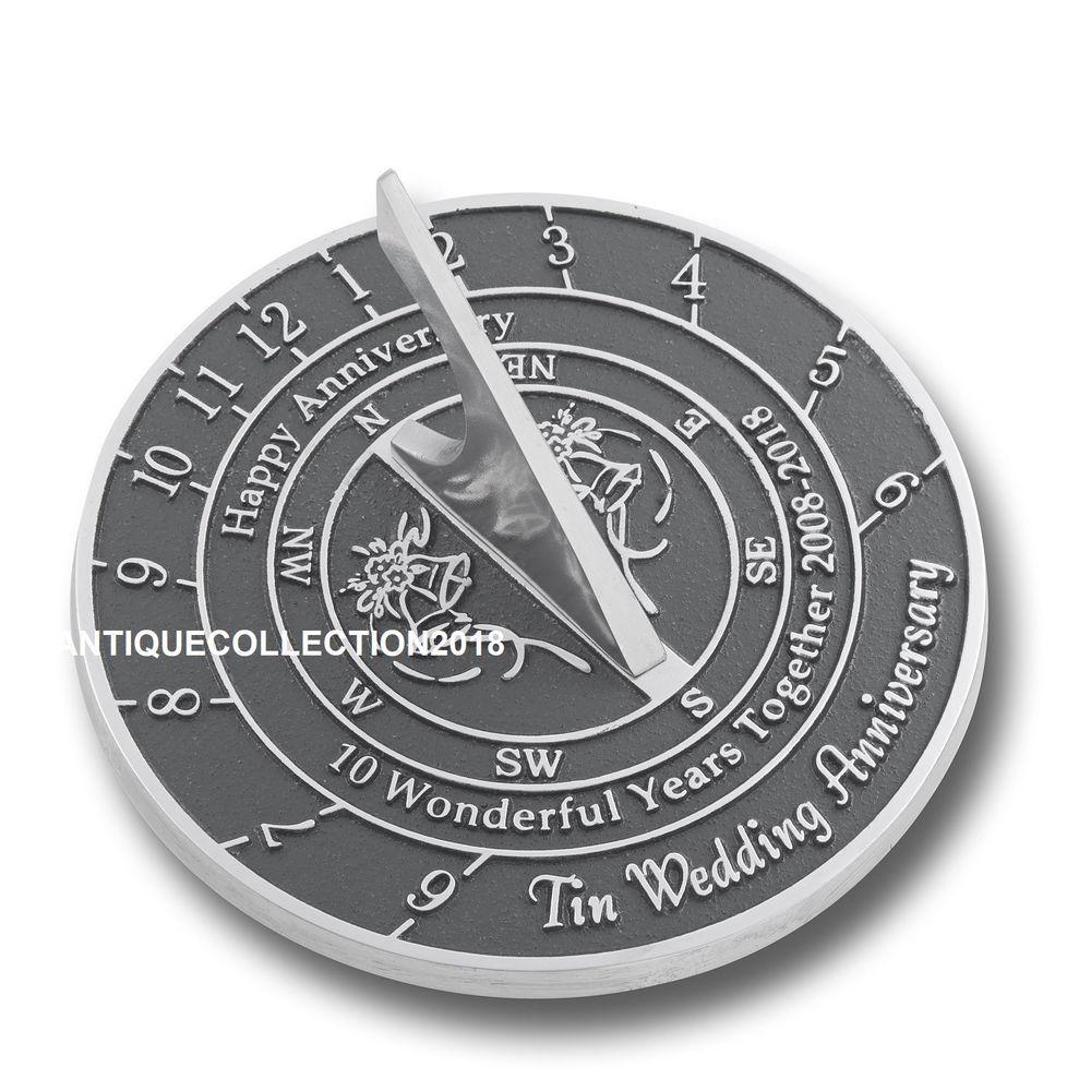 38 Year Wedding Anniversary Gift: Nautical 10th Tin Wedding Anniversary Sundial Gift