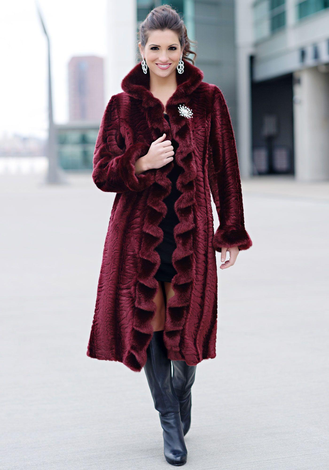 Burgundy Ruffled Broadtail Full-Length Faux Fur Coat   Fur coat ...