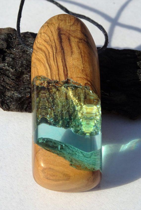 Colgante de resina olivo ecologico madera reciclada por for Resina epoxi madera
