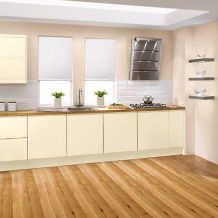 cream gloss and wooden topslike gloss tiles on floor | kitchen