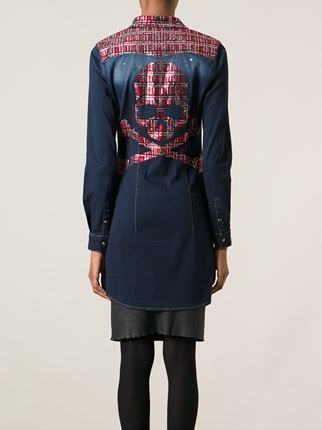 8a04823fee Philipp Plein Tartan Skull Denim Shirt Dress - Smets - Farfetch.com ...