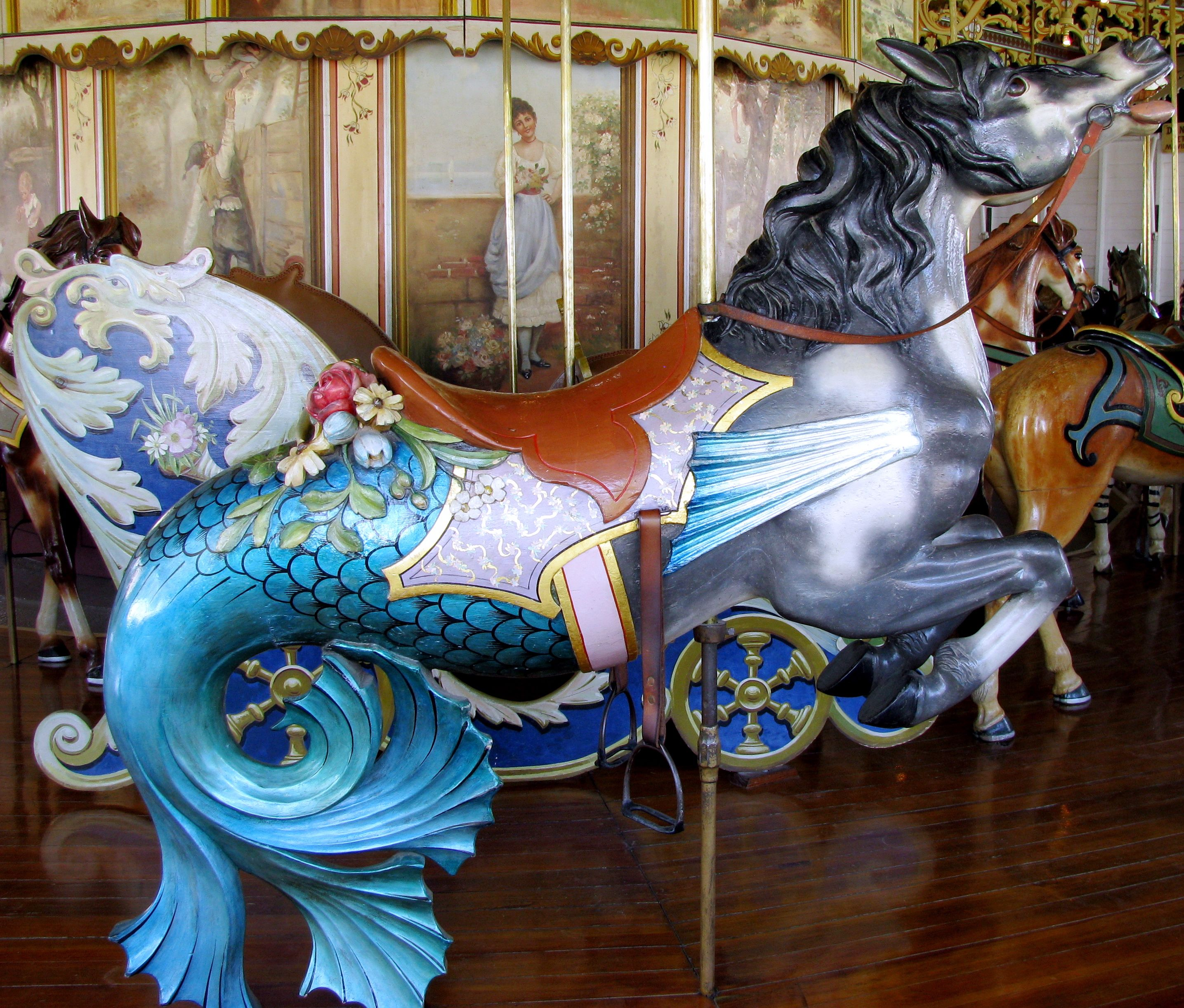"Whimsical interpretation of a ""seahorse"" on a magical carousel"
