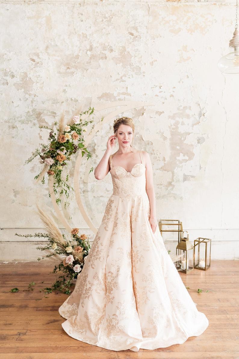 Gown Gold Brocade Bustier Ballgown Wedding Dress