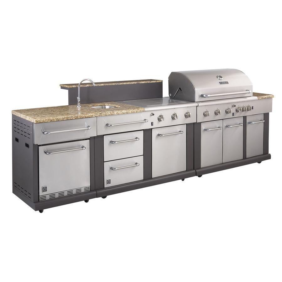 shop master forge 3-burner modular outdoor sink and side burners at