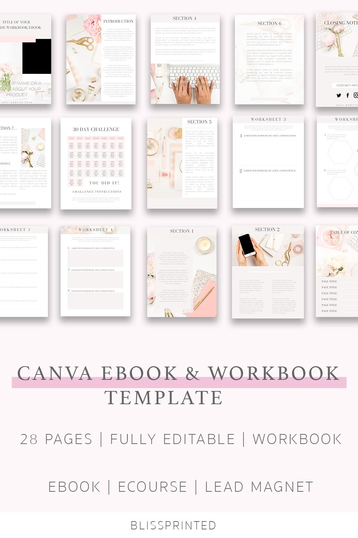 Canva template E book template Canva workbook Ebook