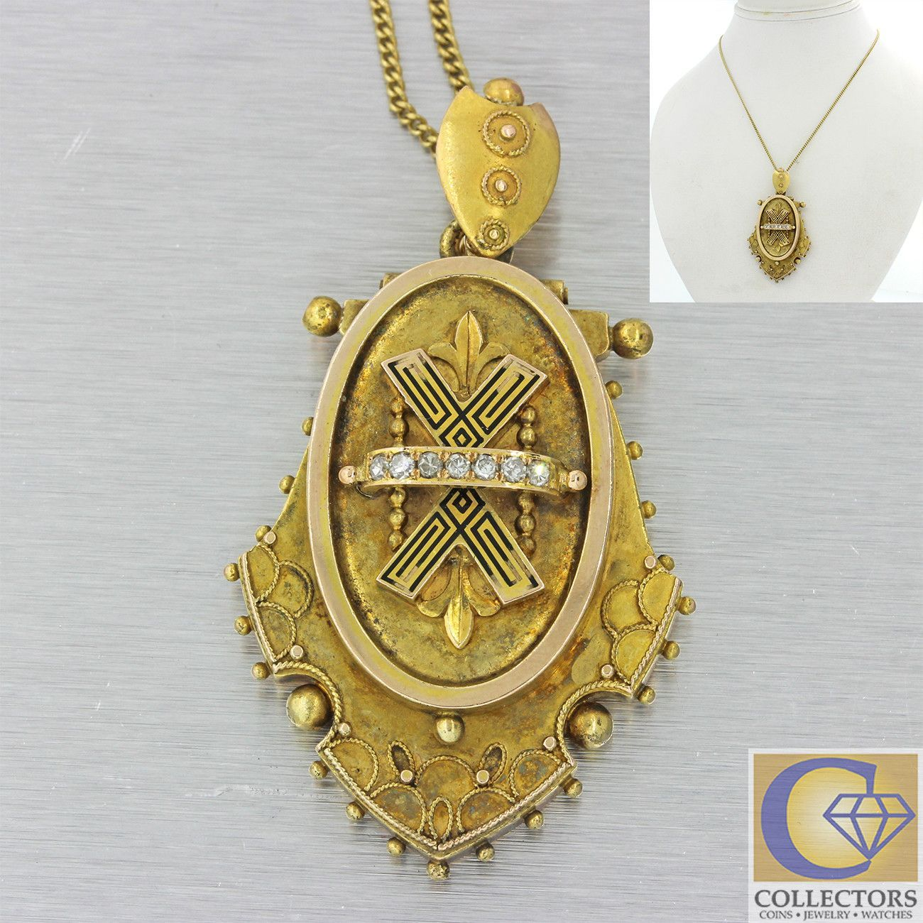 S antique victorian k gold diamond etruscan locket pendant