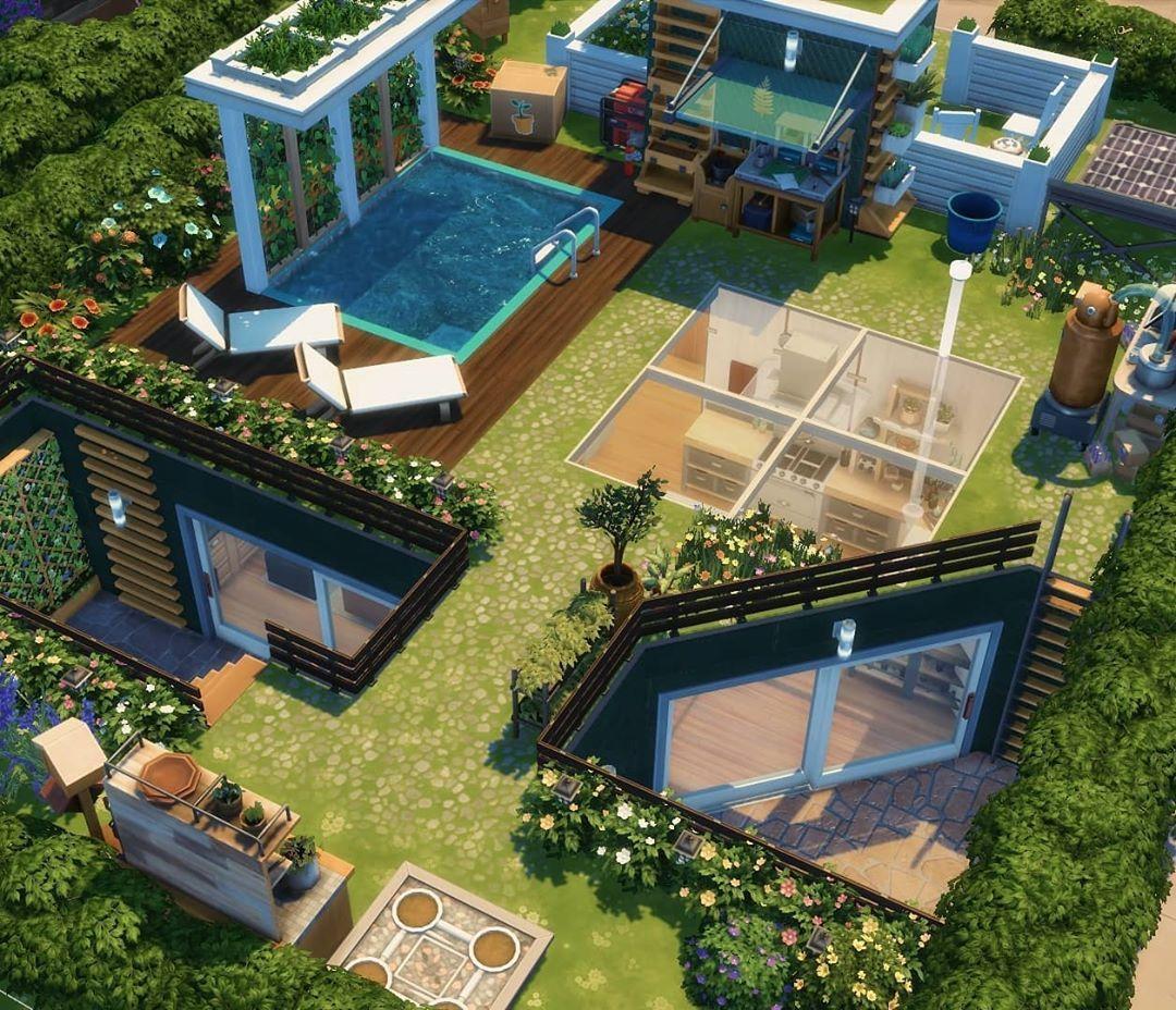 Emma On Instagram Underground Eco Home Exterior 1 Bedroom 1 Bathroom 20x15 Lot 62 122 Gallery Id Emm In 2020 Sims House Sims House Design Sims 4 House Design