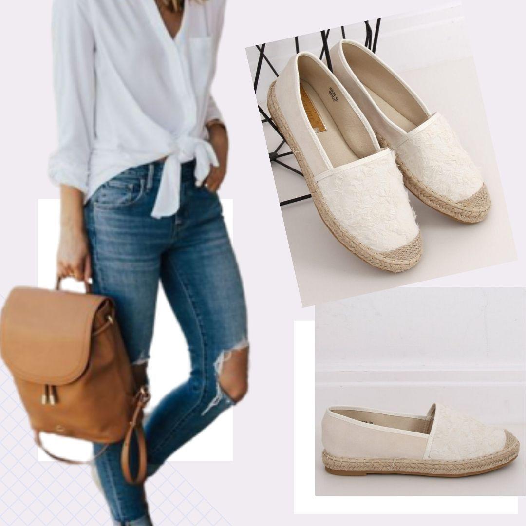 Stylizacja Biale Espadryle Espadrilles Fashion Shoes